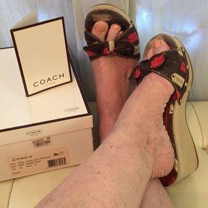 "COACH Lorah Lozg Platform Wedge Mule ""Tag"" Sandals"